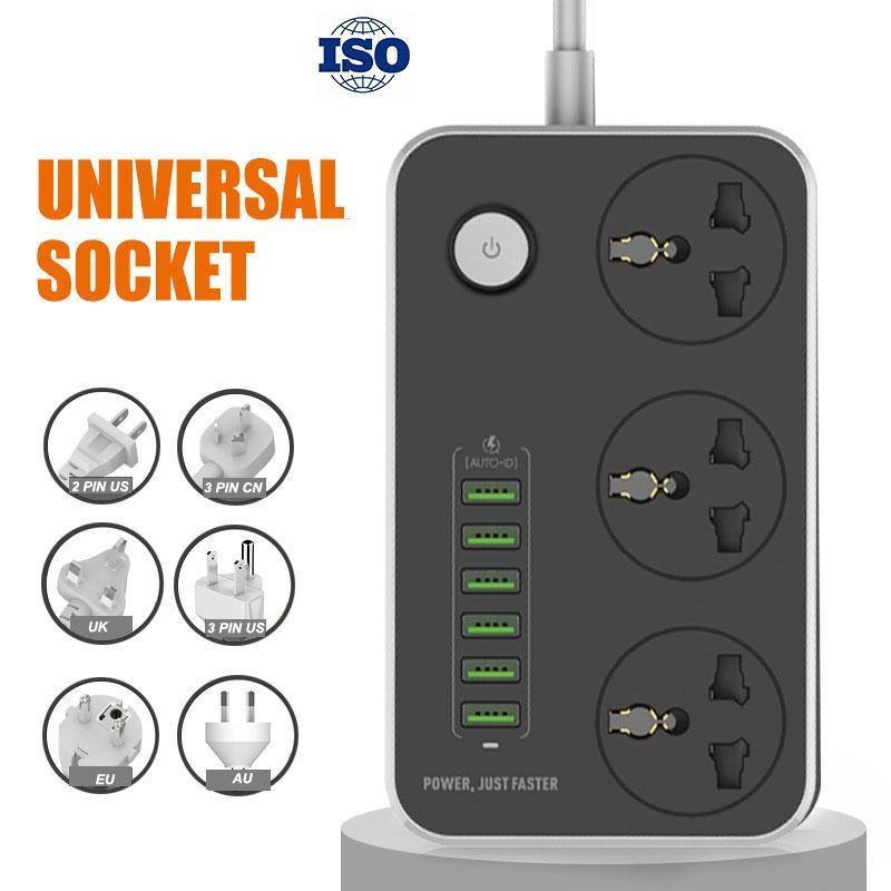 ISO 유니버설 파워 스트립 소켓 휴대용 스트립 플러그 어댑터 6 USB 포트 미국 / 영국 / EU 다기능 스마트 홈 전자 VTKY2053