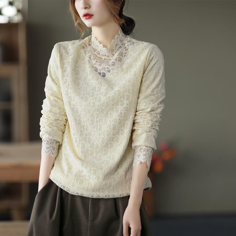 Neues Retro-elegantes Spitze-Botting-Shirt für Frauen im Winter plus Samt-Pullover mit thermischer Qualität