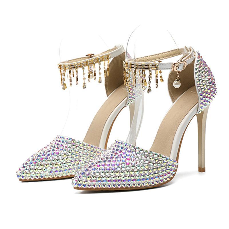 Seksi Kadınlar Elbise Ayakkabı Yüksek Topuklu Bahar Yeni 2021 Renkli Kristal Düğün Ayakkabı Tek Ayakkabı