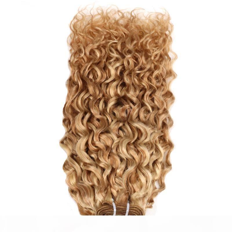 """Человеческие волосы плетение пучков 100 г P27 613 Бразильские волосы плетение пучков Цвета 10 """"-26 дюймов kinky вьющиеся 100% человеческие волосы плетения"""