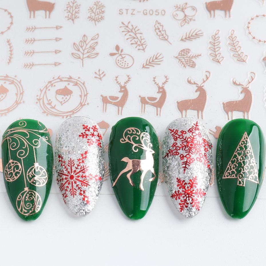 3d ندفة الثلج المتزلجون للأظافر تصميم القلب الشتاء عيد الميلاد روز الذهب مسمار فن نقل ملصقا رقائق ذاتية لاصقة الشارات المتزلجون