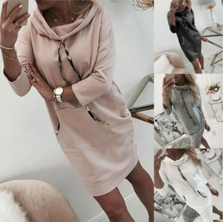 4Colour S-XXL 여성 후드 운동복 후드 드레스 긴 소매 스웨터 점퍼 스웨터 25608405172579 탑