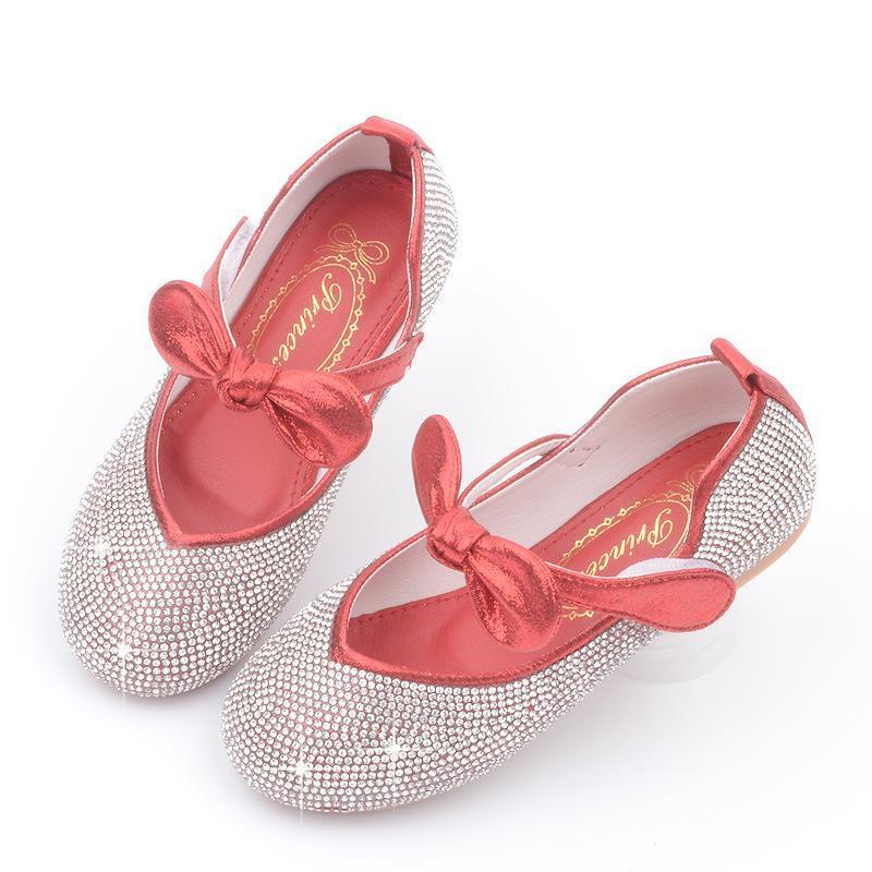 Mignonne enfants chaussures chaussures chaussures en cuir princesse enfants pour filles casual paillettes diamant bow enfants mocassins