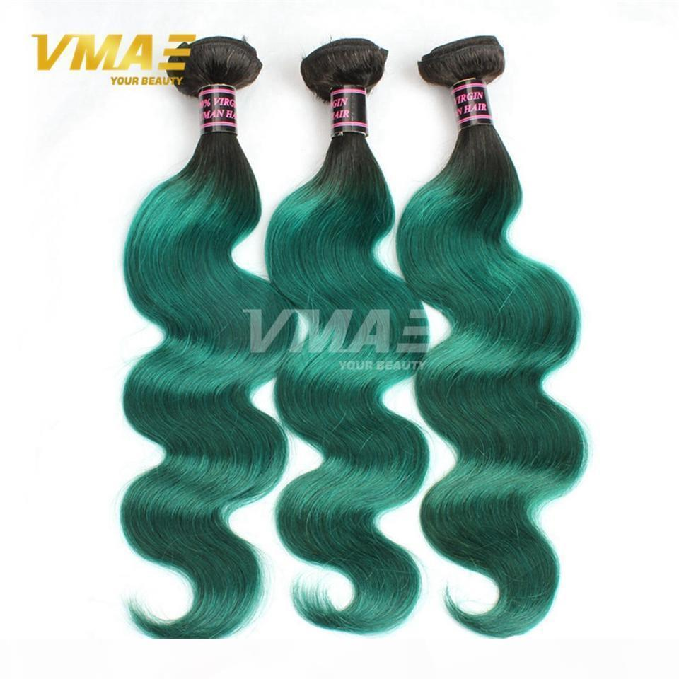 1B Verde Brasileño Body Wave Human Hair 9A Virgin Hair Hair Extensions Ombre Color Brasileño Hair 3 Bundles Lot VMAE OPP