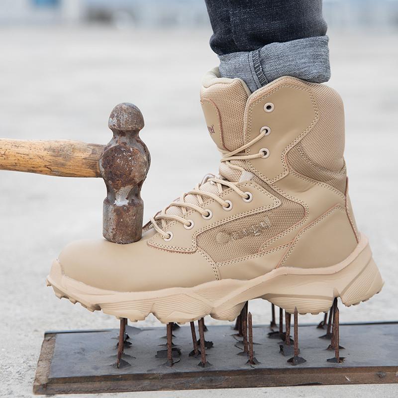 Botas para hombres Zapatos de seguridad impermeables Security Steel Toe Cap Botas militares Trabajar de punta de acero anti-Smashing Hombre Botas de trabajo Tamaño 47 201203