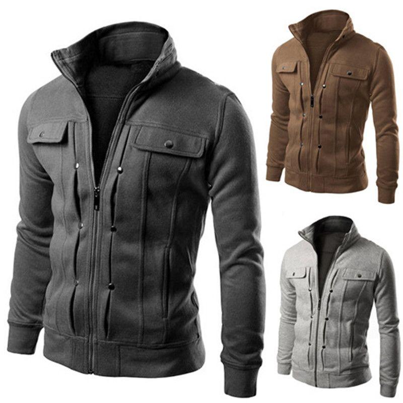 Herrenjacke Männer Frühling und Herbstjacken Hohe Qualität Mode Revers Nackenjacken Outdoor Casual Jacke 5 Farben Größe M-3XL