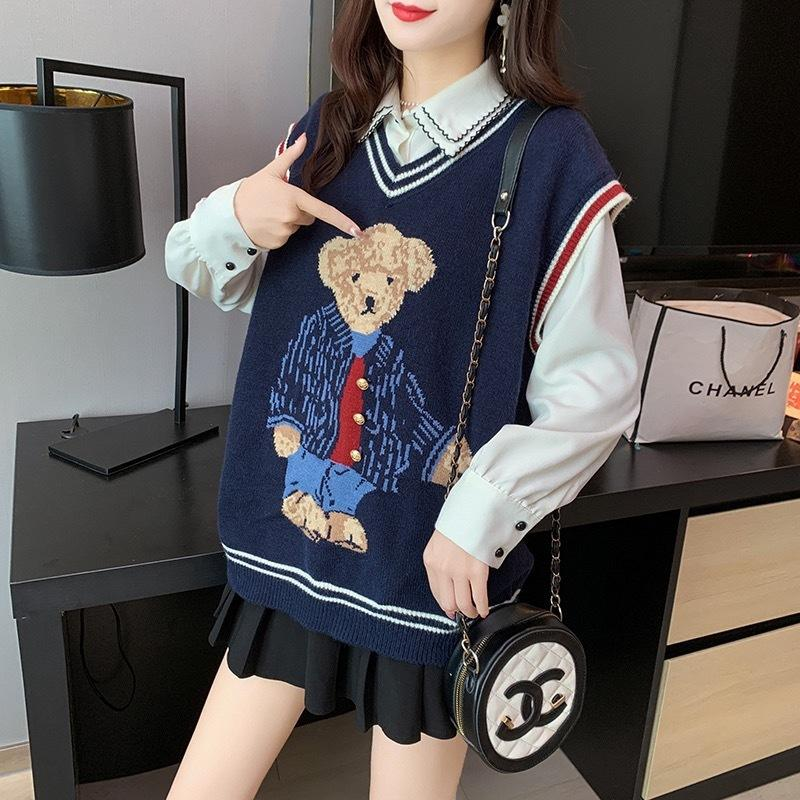 2020 плюшевый медвежонок узор женский свитер весна осенняя шерсть жилет без рукавов V-образным вырезом вязаные жилеты Пулловеру женский джемпер тянуть Femme