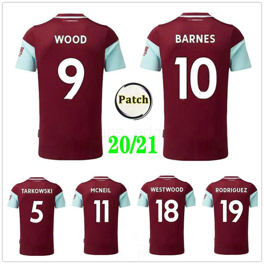 2020 2021 Барнс Футбол Джорки Tarkowski Rodriguez Westwood Mcneil Wood Custom 20 21 Домашний Красный Взрослый Дети Молодежная футболка