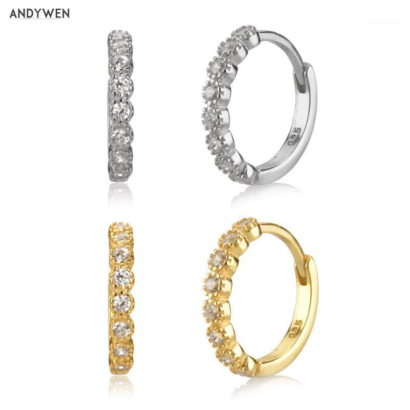 Andywen 925 Sterling Silver 9.5mm Hoops Cristal Cz Huggies Anel Especial Rodada Loops Moda Europeia Mulheres Luxo Jóias1