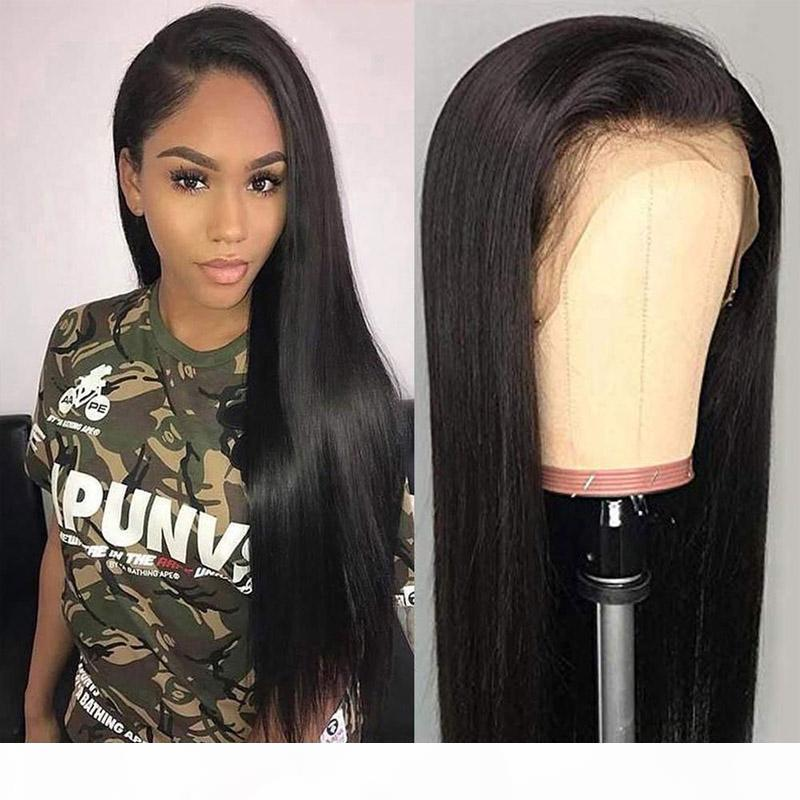 Glueless Straight Lace Front Wigs Full Lace Human Hair Pre Plucked Natural Hairline with Baby Hair 130%~150% Density For Black Women 8~24