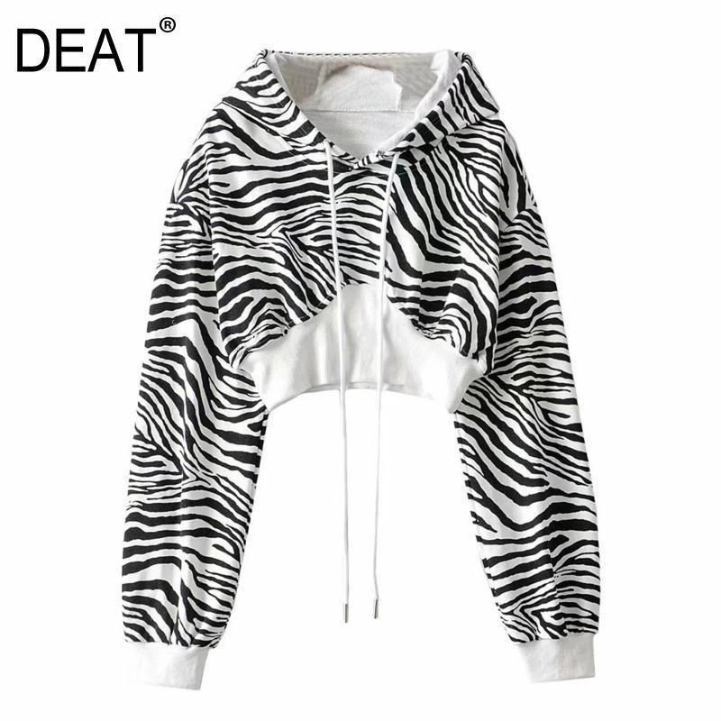 [Deat] 2020 Frühling Herbst Neue Mode Flut Langarm Mit Kapuze Zebra Muster Pullover Lässige Frauen Sweatshirt Lose 13U799