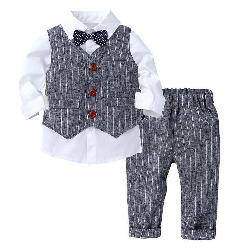 Малыши для мальчиков одежда набор детей весенние детские наборы одежды для мальчиков джентльмен плед бабочка галстук 3 шт. Outfit Детская одежда костюм T200707