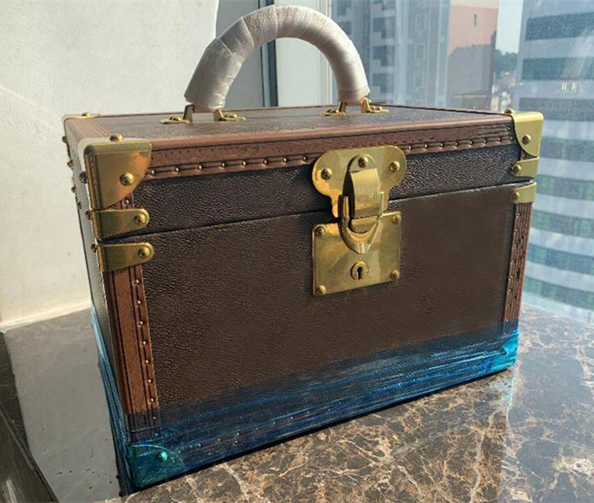 المرأة الكلاسيكية سيدة 34 سنتيمتر مجوهرات مربع السفر ماكياج خشبي مربع طبقتين الحقائب مخلب جلد طبيعي السفر كيت مجوهرات المنظم محفظة
