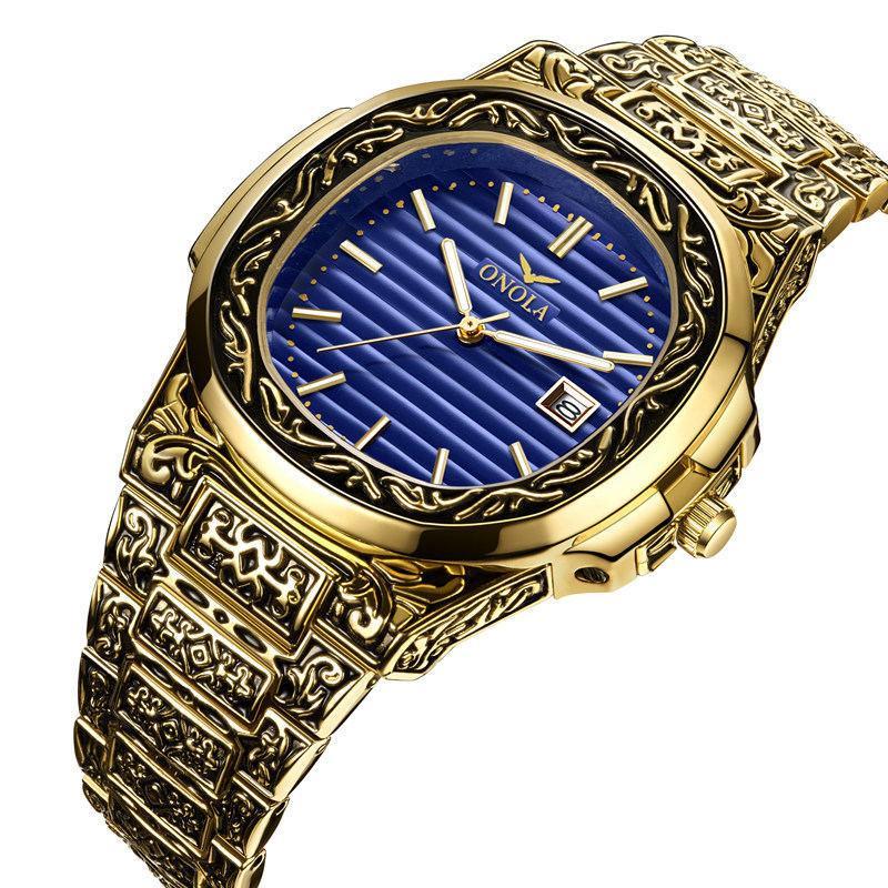 wholewatchesonola 크로스 테두리 새로운 도착 빈티지 망 시계 강철 밴드 방수 쿼츠 시계 남성 손목 시계 스트랩