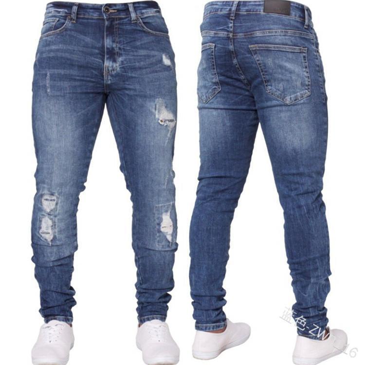 Jeans da uomo Uomo Streetwear Boyfriend Skinny Jean con tasca Pocket Solid Punk Autunno Vestiti invernali Hip-hop Denim Pantalone 2021 Pantalone per fori