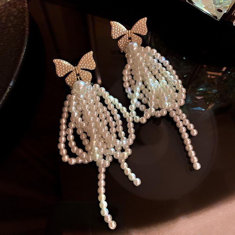 Fyuan koreanische stil bowknot pearl baumeln ohrringe für frauen langen quaste ohrringe hartnäckchen party schmuck zubehör