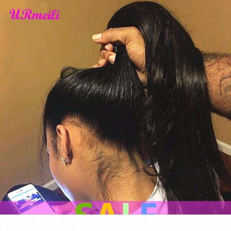 Parrucca frontale del pizzo fulll 360 Remy brasiliano lunghe parrucche verghe vergini vergini vergini per le donne nere precipitate con capelli del bambino 150% densità