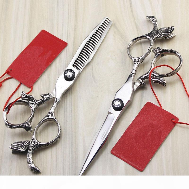 5.5inch Anjo Handle Personalidade Hetero Emagrecimento Scissor com caso Barber Shop Abastecimento cabeleireiro Estilo Grooming alta qualidade