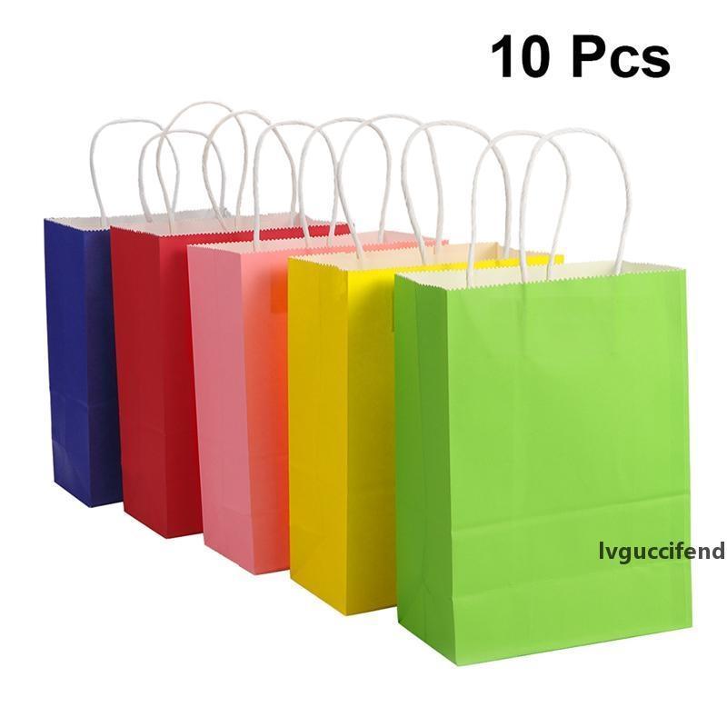 10pcs Kraft Kağıt Saklama Torbası Hediye Kağıt Alışveriş Çantası Mevcut Ambalaj Renkli Favor Üstü Açık Misafirler Ayağa kalk Packaging