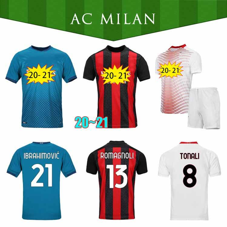 20 21 CA Milan Jerseys de fútbol Ibrahimovic 2021 Rebic Theo Tonali Camisa de Fútbol de Tonali Romagnoli Fans Versión Calhanoglu Men's Kids Kit