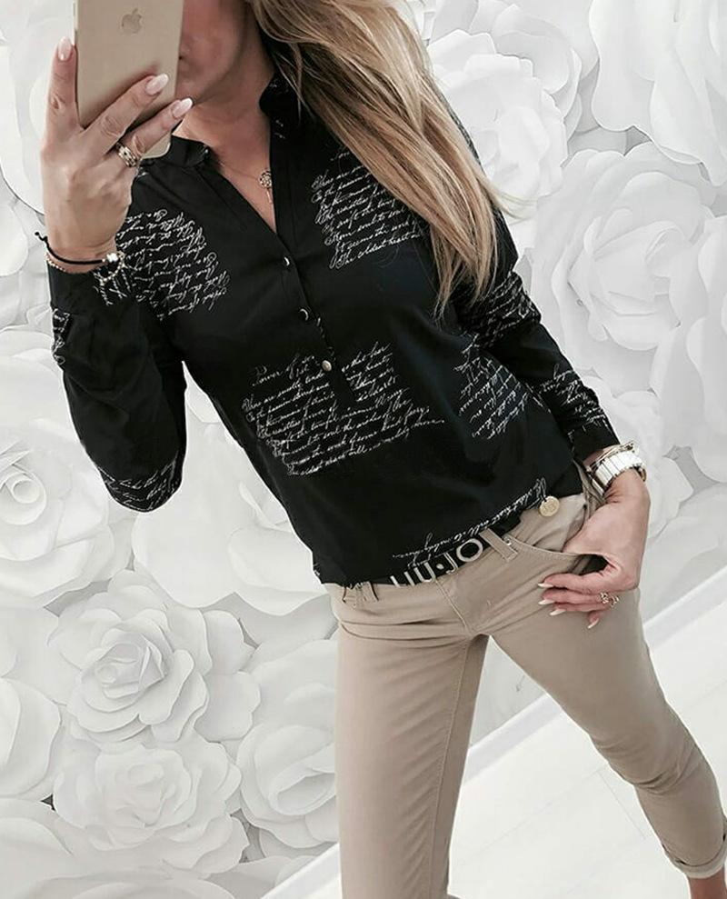 Nuovo 2020 Primavera e Autunno Vendita calda Vendita V-Collo V-Collo Casual Shirt manica lunga manica lunga 100247