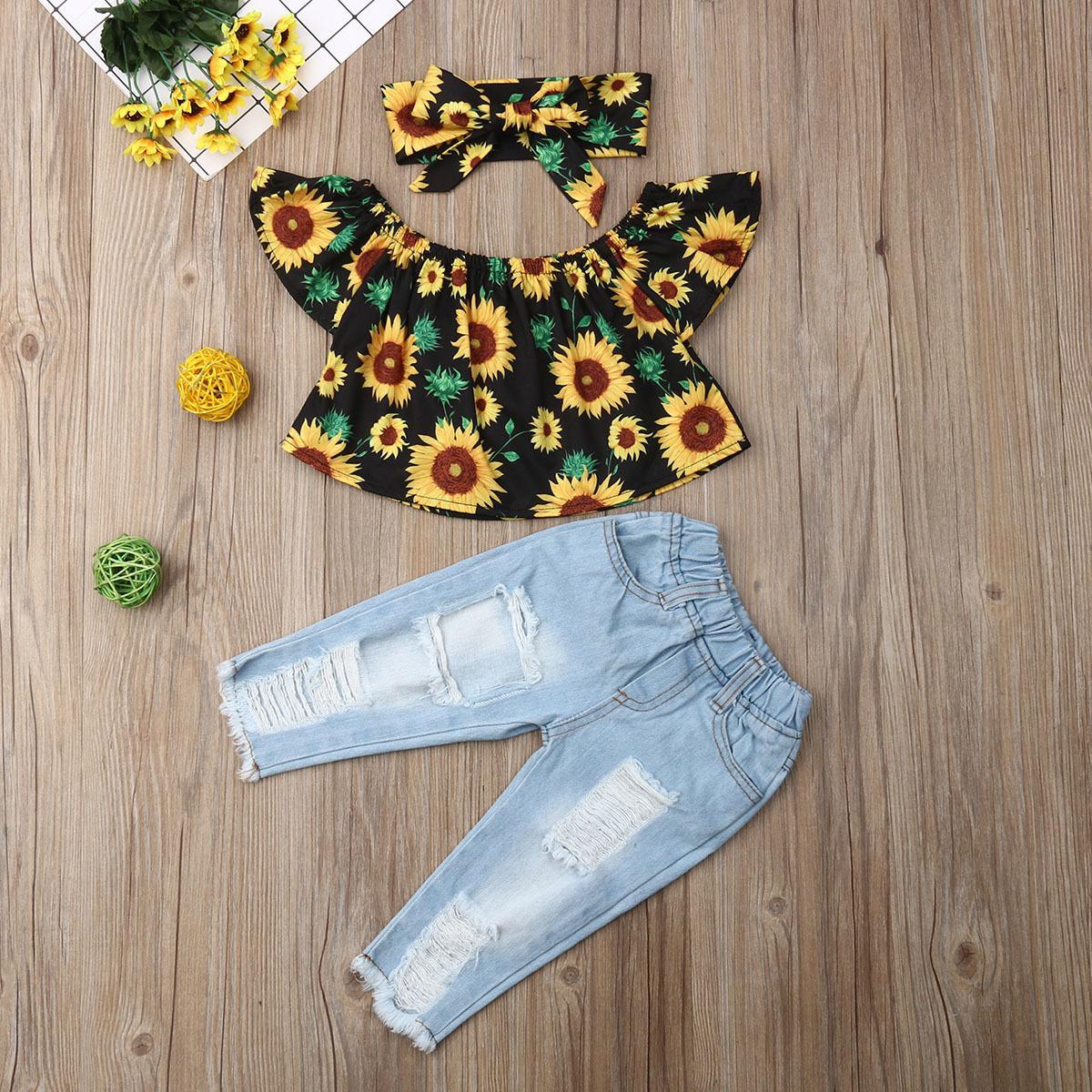 Pudcoco Toddler Baby Girl Vestiti fuori spalla Sunflower Stampa Top Strappato Denim Pantaloni Denim Fascia 3pcs Abiti Vestiti estivi Y200829