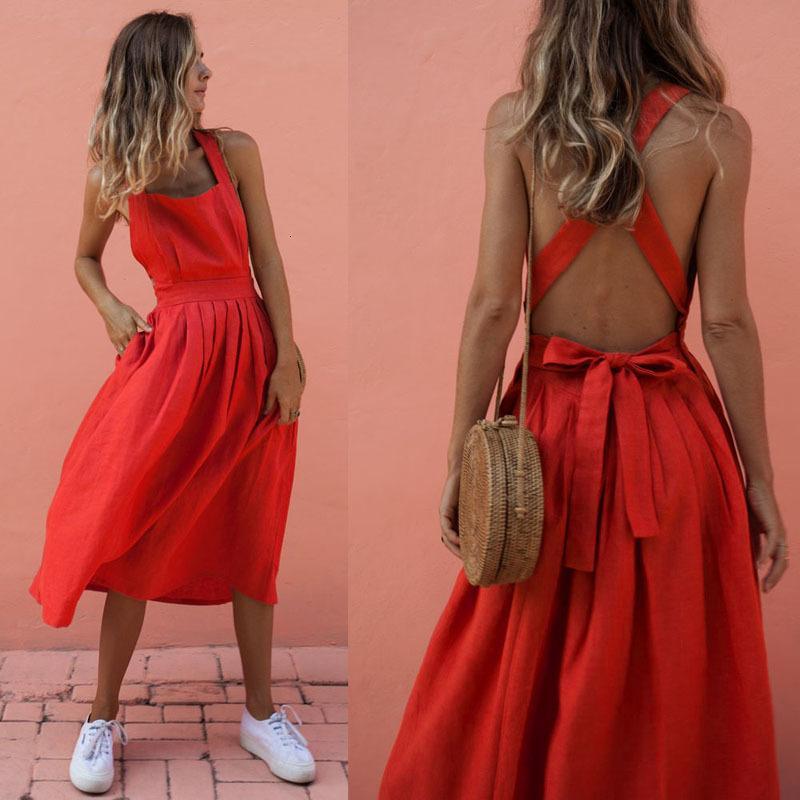 2020 летнего платье Женского Backless Крест кулиска Пляж Платье O-шея ремень Sexy Red Vintage Sundress Женщина Femal.