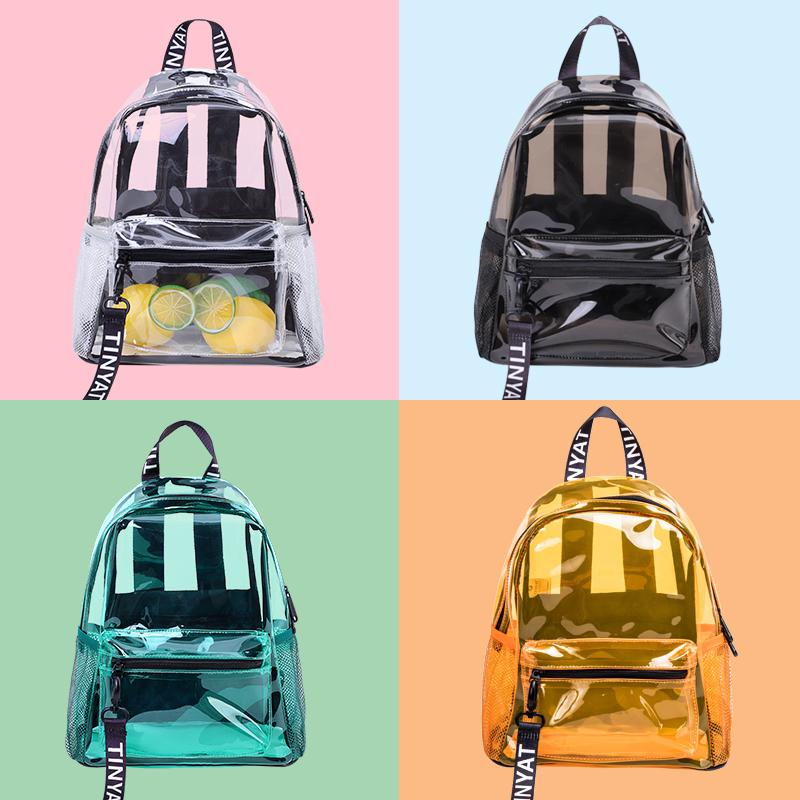 TINYAT Transparent Women Backpack High quality PVC Waterproof bags 2020 fashion Solid Travel School for Teenage Girls Q1113