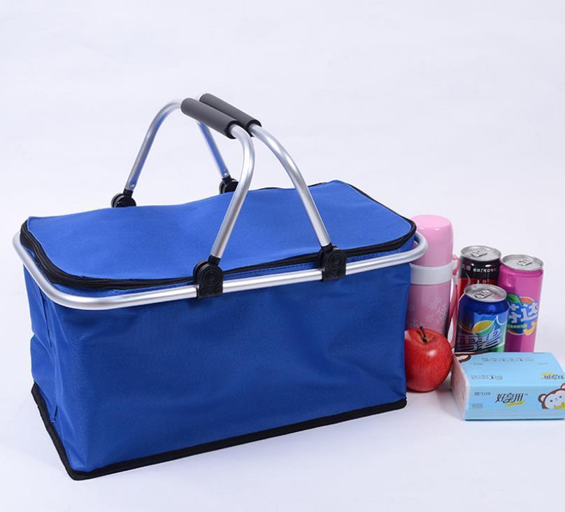 Portable Picnic Lunch Bag Ice Cooler Box Storage Travel Basket Cooler Cool Hamper Shopping Basket Bag Box BEC4112