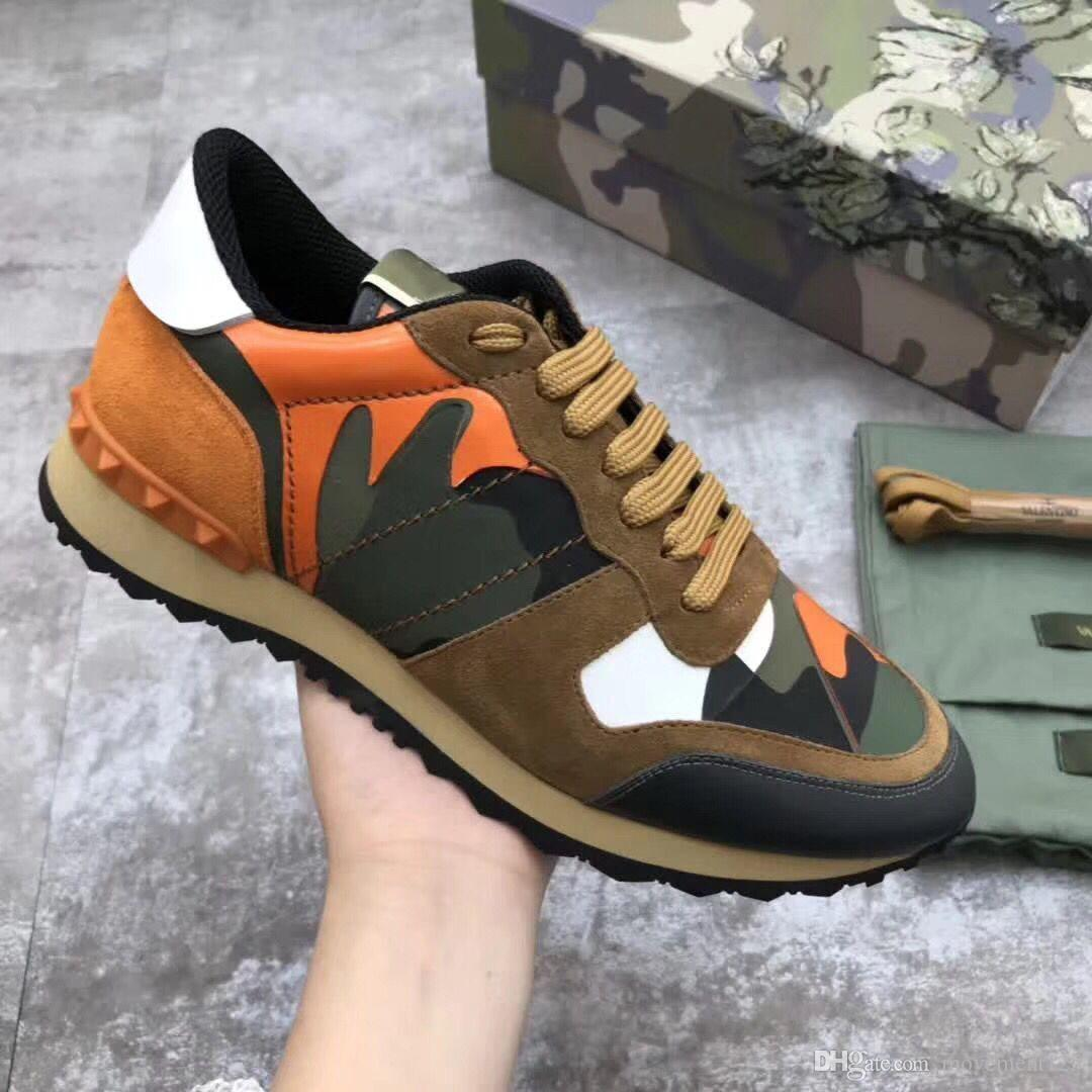 Nouveau Camouflage en Cuir Rock et Runner Sneakers Chaussures Hommes, Femmes Rock Stud Casual Camo Loisirs Unisexe Formateur Chaussures 35-46