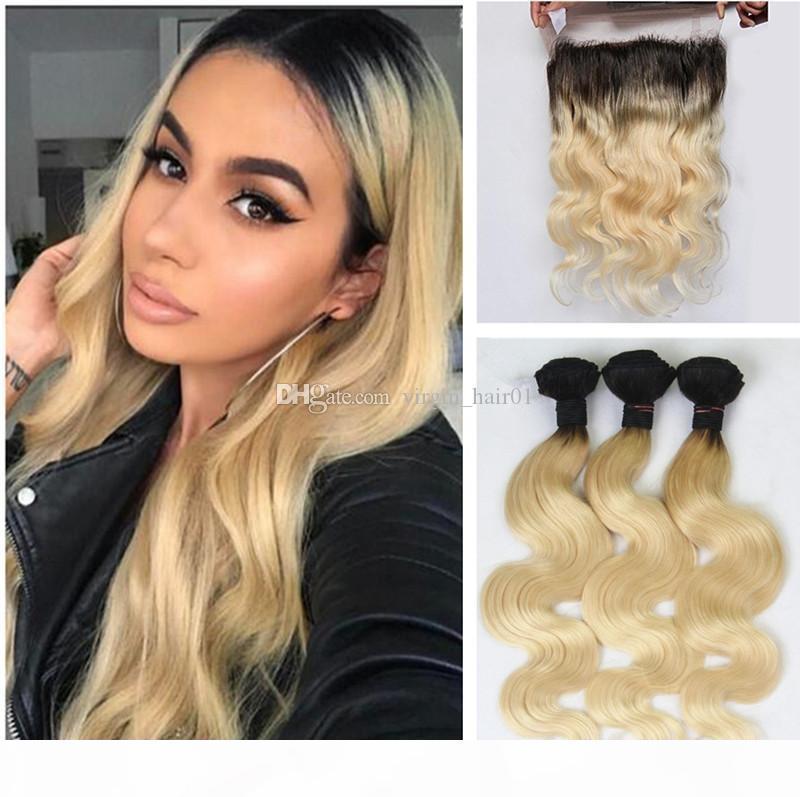 Блондинка Preucked 360 кружева фронтальные с Бундом # 613 Отбеленные блондинки человеческие перуанские волосы девственницы с масляной волной 360 кружевной закрытие