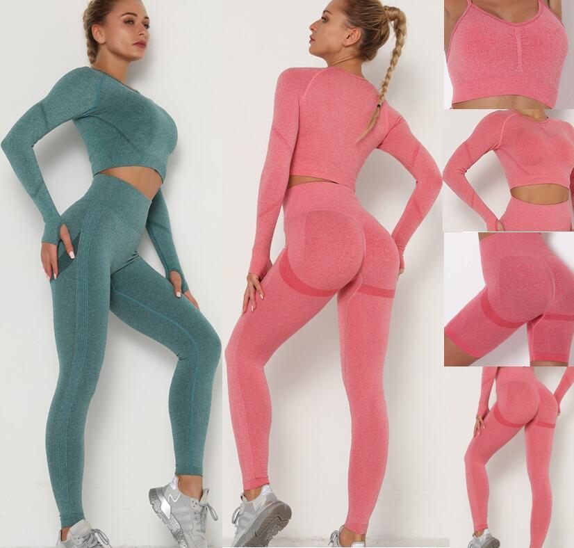 Winter Mode Designer Womens Baumwoll Yoga Anzug Gymwear Sportwear Trainingsanzüge Fitnesssport Vier Teile Set 4 stücke BH Leggings Outfits Frühling