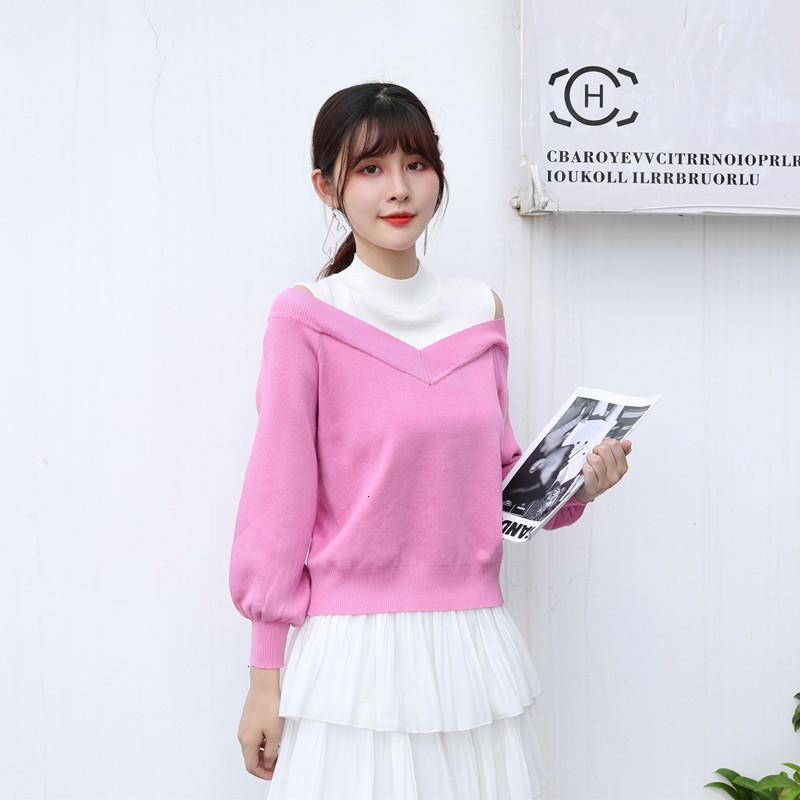 Semi turtleneck women's autumn new color matching off shoulder fake two loose and versatile Pullover Sweater with top