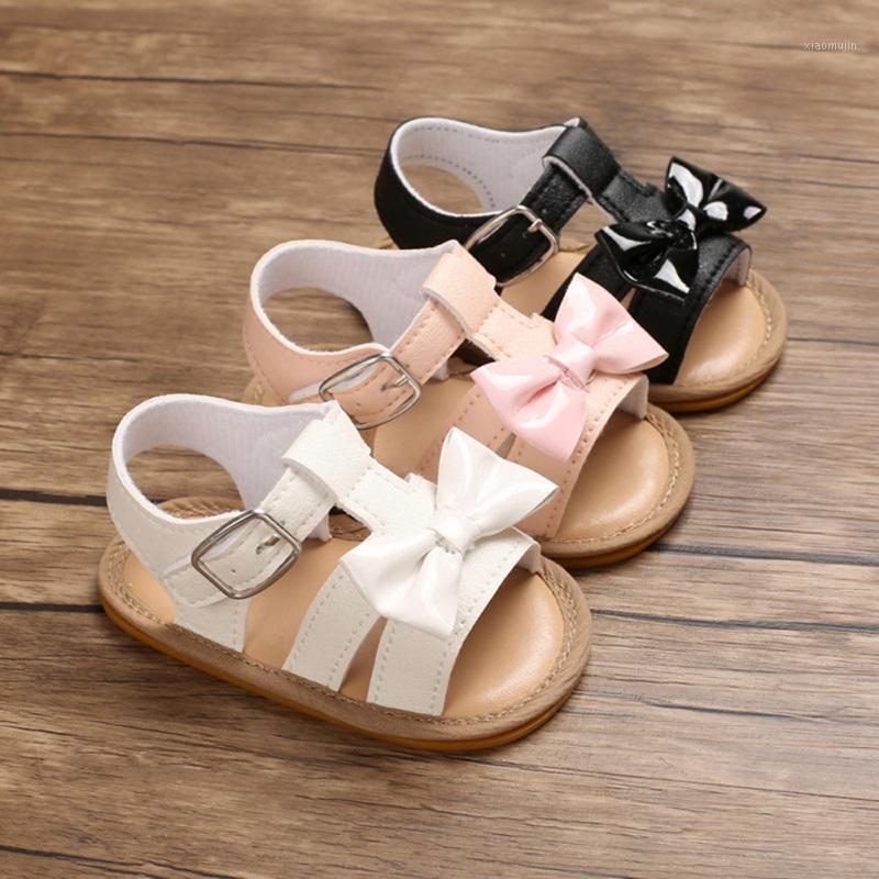 WeixInbuy Baby Girls Bow Summer PU Cuero Transpirable suave zapatos de fondo Niñas Bebé Sandalias Sandalias Playa Zapatos 0-18 M1