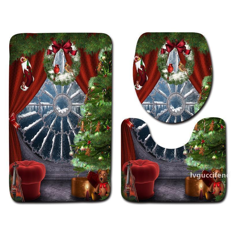 Новый дизайн рождественские украшения ванной набор ванной 3шт радостный узор ванна коврик против скольжения коврик для душа и туалетных матов