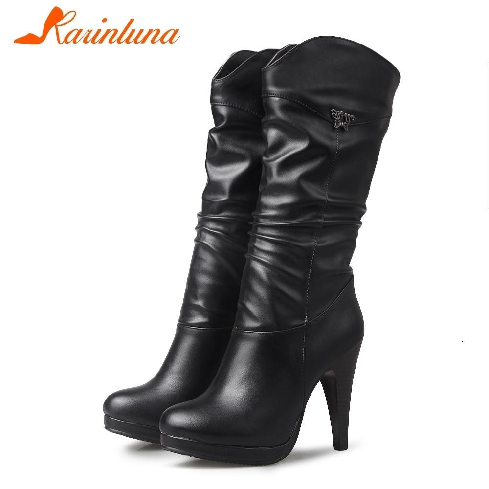 Karinluna 2019 دروبشيب حجم كبير 32-46 الرجعية عالية الكعب المرأة المرأة منصة ميكروفون العجل الأحذية النسائية أحذية النساء