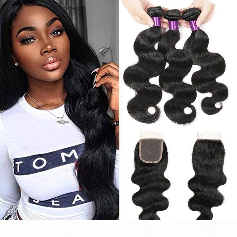 Волна тела человеческие волосы необработанные бразильские девственные волосы 3 пакета с 4 * 4 кружева закрытие свободная часть натуральный черный цвет