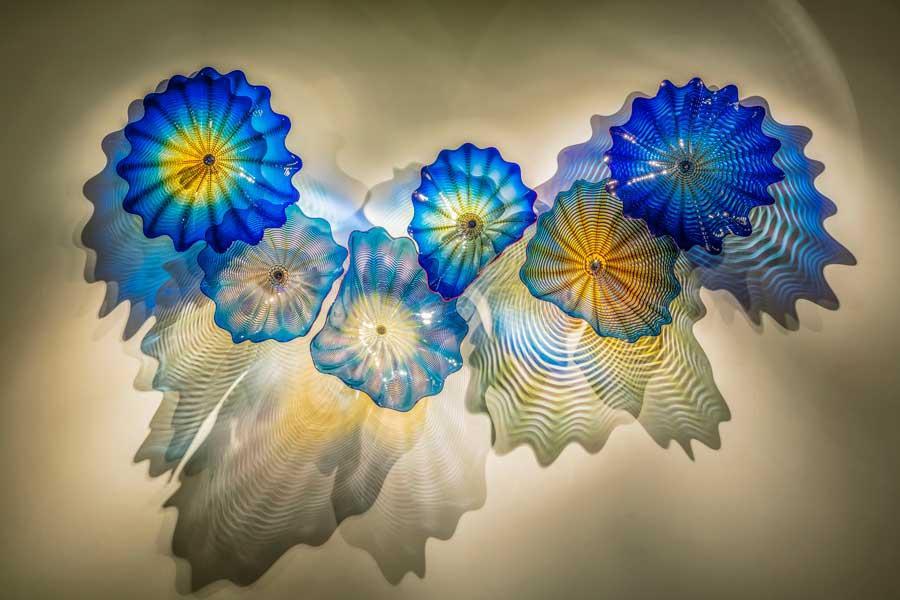 Aqua Flor Placas Hecho a mano Florada de vidrio Lámpara de pared Sconce Moderno azul Teal Color Murano Arte Colgando Lámparas