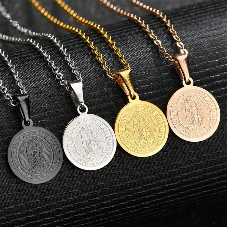 316 in acciaio inox in acciaio inox oro argento nero cattolico la vergine mary Guadalupe Madonna madre di Cristo Gesù ciondolo collana gioielli