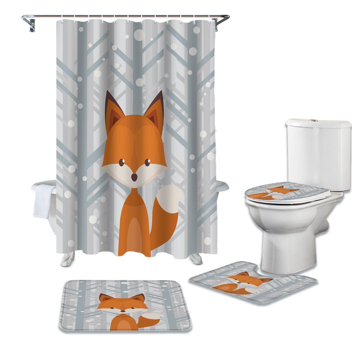 Wood Woods Fox Tapis à rideau de douche étanche Set Tapis de bain antidérapants Toliet Toliet Housse de bain Rideaux de douche Q0121