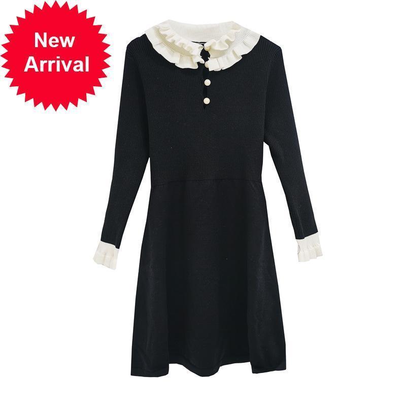 2021 Nuevo otoño babeando hembra vestida con malla fina retro en blanco y negro contraste elegante color camisón temperamento T31m