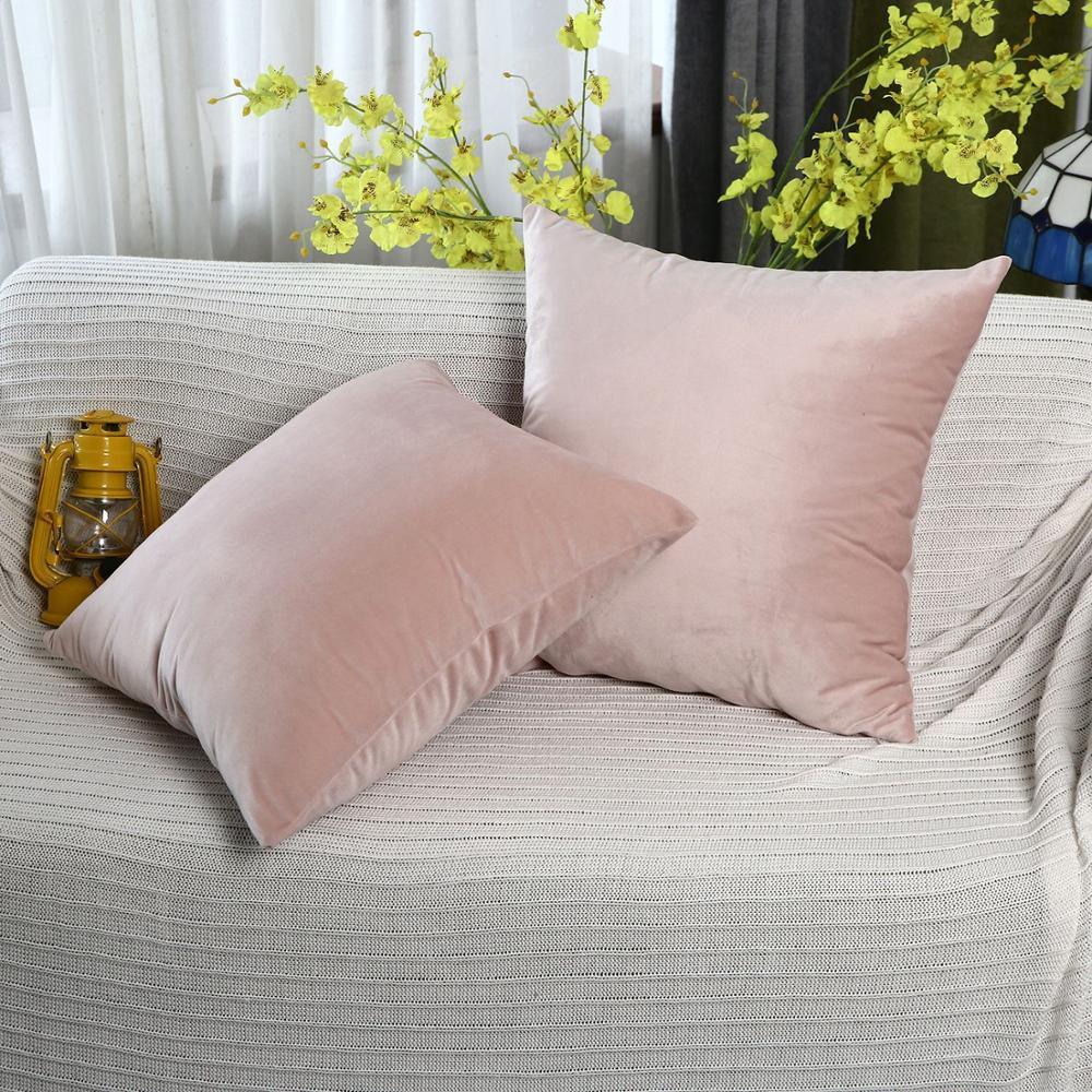 Cubierta de almohada de cojín de terciopelo de lujo Cubierta de almohada Caja de almohada Verde amarillo rosa gris Casa Decorativo Sofá Cojines 45x45cm