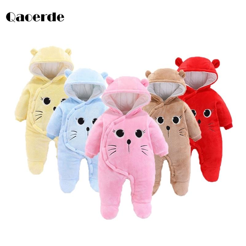 Newborn Clothes Baby Costume Rompers Toddler Pajamas Fleece Soft Baby jumpsuit Coats for babies Infant Baby Girl Clothes 0-12M 201216