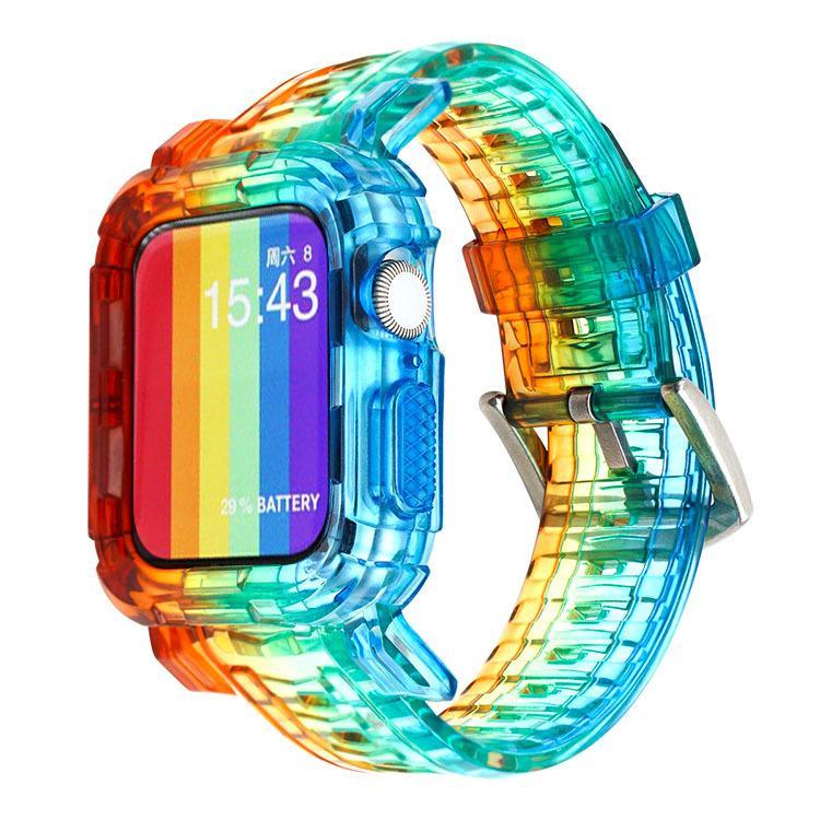 패션 레인보우 시계 밴드 수호자 케이스 사과 시계 시리즈 6 SE 1 2 3 4 5 실리콘 스트랩 IWATCH 38 / 40 / 42 / 44mm 스포츠