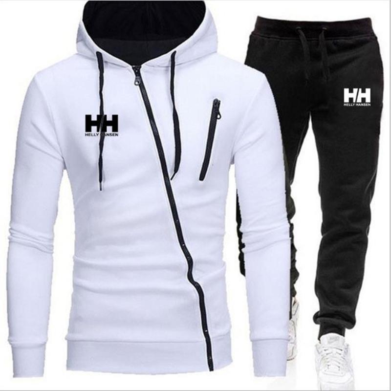 Set Diagonal, Hoodie en Broek, Hombres Casual Sportswear, Rits Ropa Deportiva