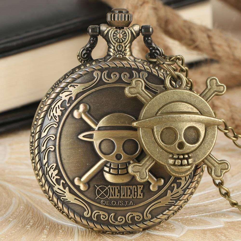 Animação quente uma peça cosplay steampunk 3d bronze relógio de bolso com colar de corrente relógio de relógio melhor presente para crianças
