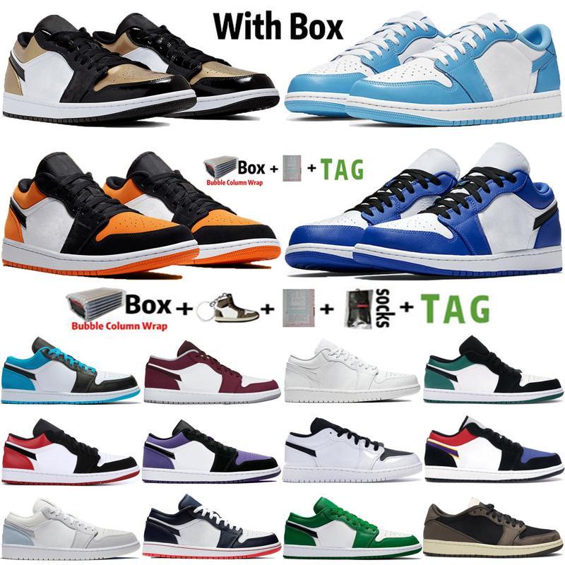 2021 Düşük OG Jumpman 1 1 S UNC Obsidiyen Erkek Basketbol Ayakkabıları Travis Scotts Paris Hiper Kraliyet Toe Airmaxaj Bayan Sneakers Eğitmenler Boyutu 36-45
