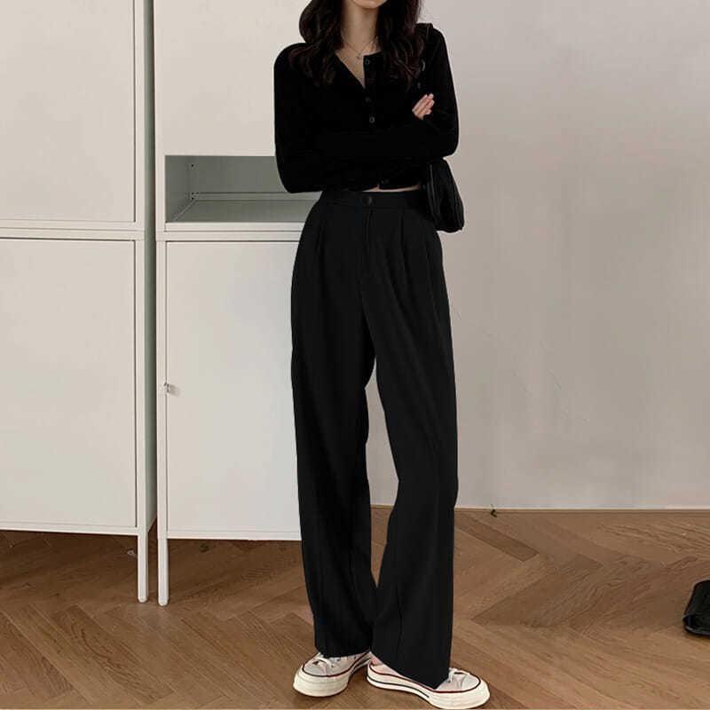 Vestito delle donne dei pantaloni di WavSiyier Tuta da donna 2020 Autunno Solido Straight Gamba Gamba Inverno Inverno Inverno Plus Size Ufficio coreano casual sciolto