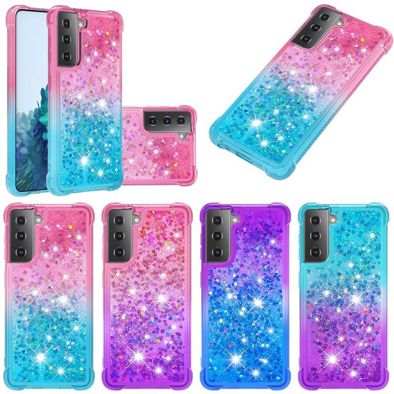 Quicksand TPU Liquid Gradient Glitter Case For Samsung S21 Plus Ultra A52 A72 5G M31 M51 XiaoMi Poco X3 10T Note 10 Lite Huawei P Smart 2021