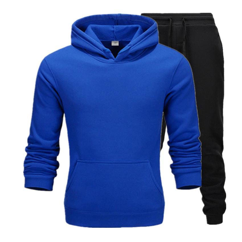 2020 Abbigliamento casual Uomo Pullover Maglione da uomo in cotone con cappuccio Tute Due Pezzi + Pantaloni Camicie Sport Autunno Inverno traccia vestito nero
